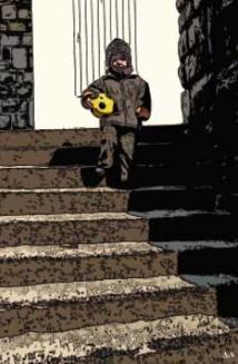 Enfant dans les escaliers (Biarritz). © Serge Nouchi